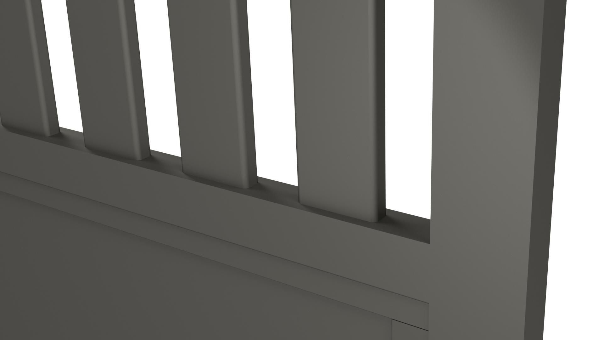 Zoom sur un barreau de portail en aluminium 80 x 20