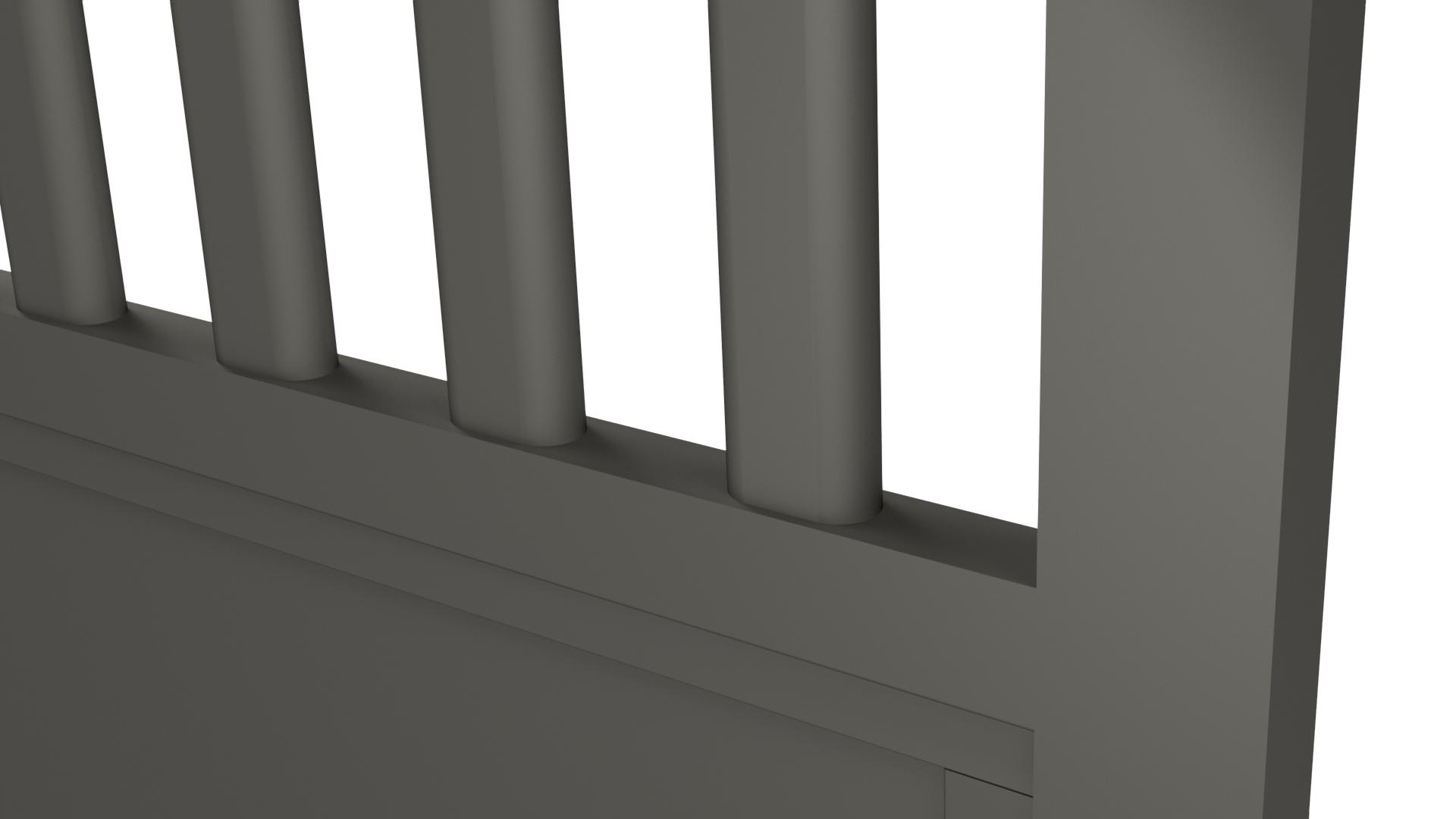 Zoom sur un barreau de portail en aluminium 60 x 30 de forme oblong