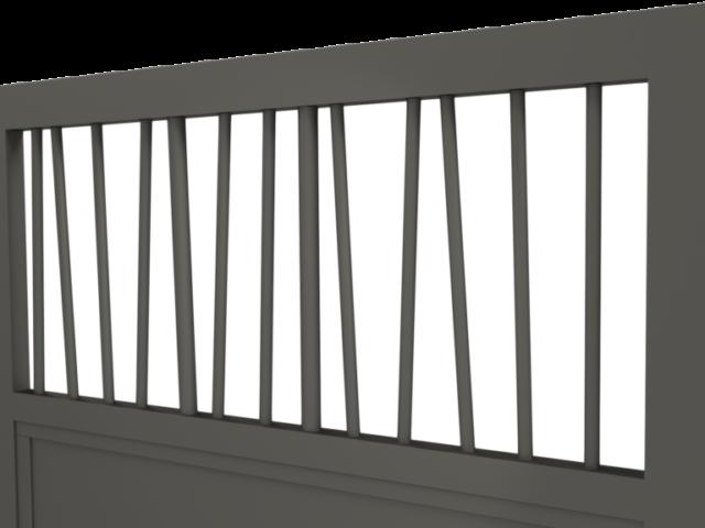 Zoom sur des barreaux de portail en aluminium diamètre 20 et 30 disposés aléatoirement