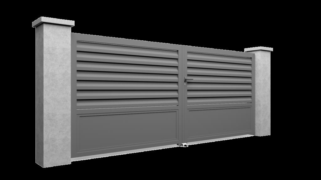 Modèle 3D de portail en aluminium Bredok avec lames en Brise Vue