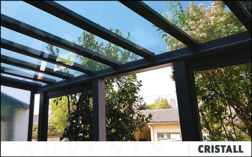 Auvent avec une toiture transparente