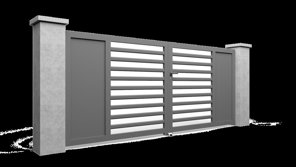 Portail plein avec différentes dispositions de découpes et barreaux