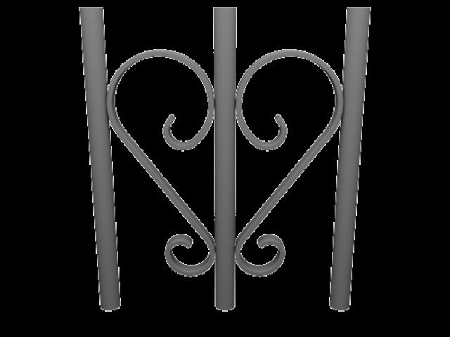 Décors en volutes de demi coeur pour garde-corps aluminium CLASSALU
