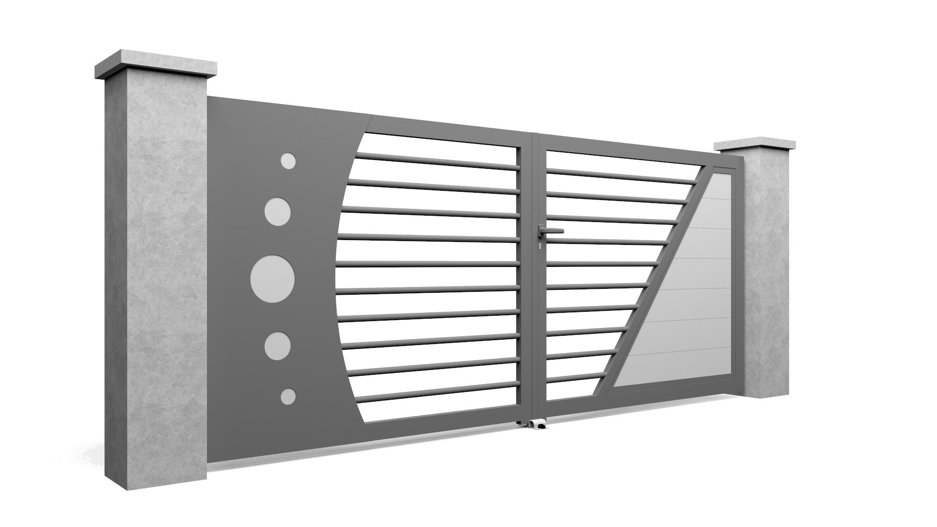 Modèle de portail en aluminium Select Hybrid A avec bicoloration