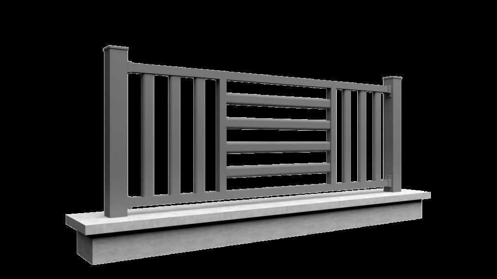Clôture en aluminium avec des barreaux modèle MODERN MIX 1