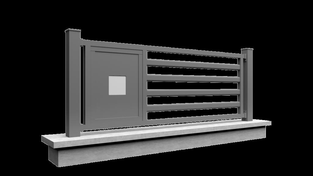 Clôture avec barreaux et remplissage modèle MODERN MIX 2