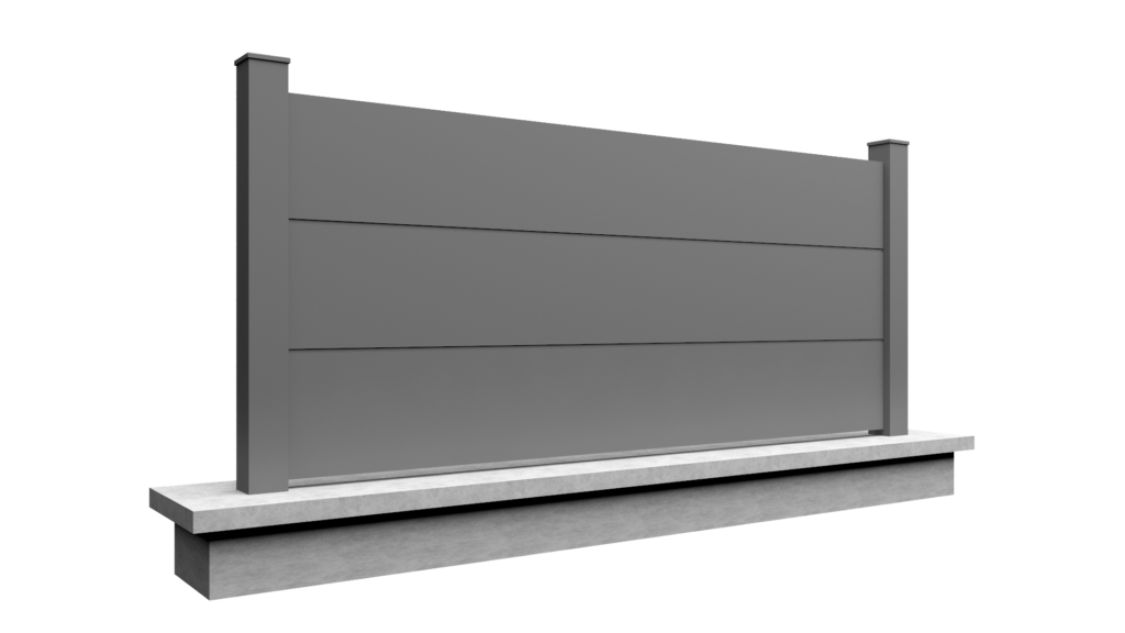 Clôture en aluminium sur mesure plein SELECT trois panneaux