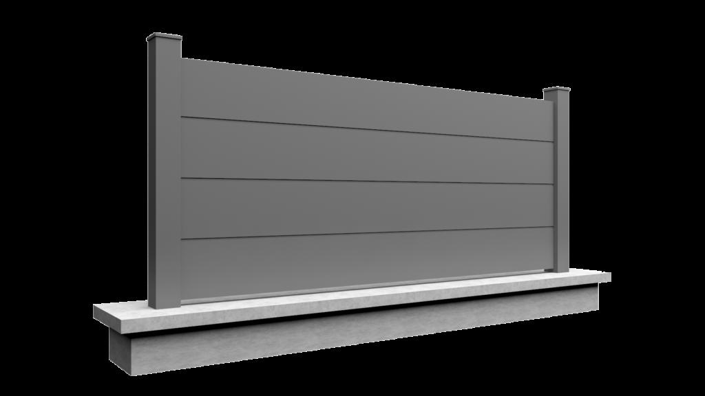 Clôture en aluminium sur mesure plein SELECT quatre panneaux